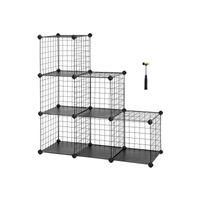 Meuble modulable grille 6 casiers noir