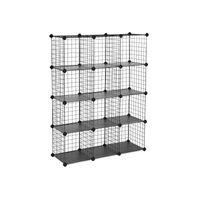 Meuble modulable grille 12 casiers noir