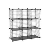 Meuble modulable grille 9 casiers noir