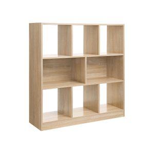 Bibliothèque 8 casiers bois clair