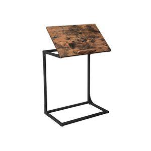 Table d'appoint Bout de canapé Marron Rustique et Noir