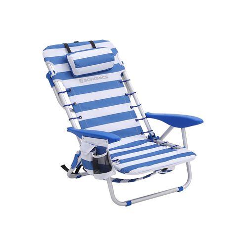Chaise de plage bleu blanc