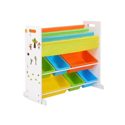 Meuble jouets livres multicolore