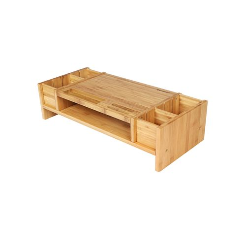 Homfa Rehausseur dEcran Support dOrdinateur en Bambou Support de Moniteur avec 2 /Étages 60/×30/×15cm
