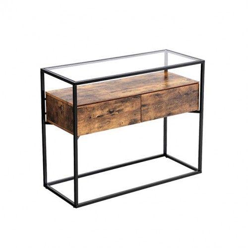 Table console plateau verre industriel