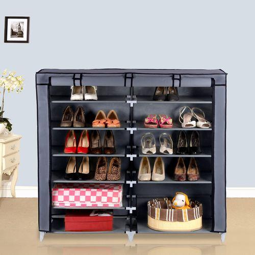 SONGMICS Armoire//étagères à chaussures 7 couches 36 paires de chaussures avec housse en toile avec zip couleur gris 115 x 110 x 28 cm RXJ12G