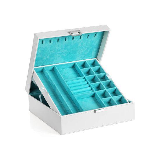 Boîte à bijoux 2 niveaux blanc