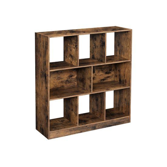 Bibliothèque 8 casiers bois foncé