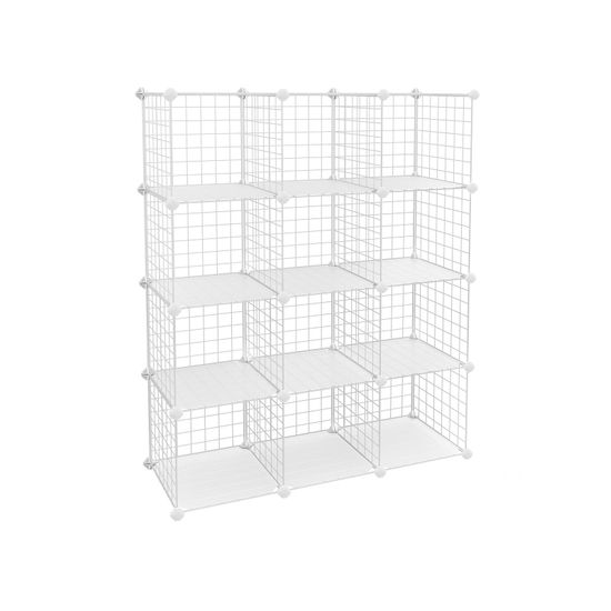 Meuble modulable grille 12 casiers blanc